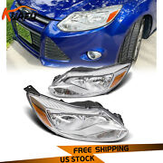 For 2012-2014 Ford Focus Headlights Head Lamps Left Right Pair Driver Passenger