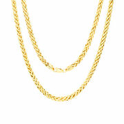 10k Yellow Gold 4mm Hollow Palm Wheat Foxtail Franco Round Chain Necklace 30