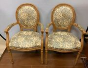 Pair Of French Louis Xvi Carved Oval Back Fruitwood Arm Chairs Kravet Fabric