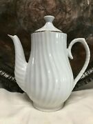Monno Supreme Porcelainwhite Swirl With Gold Trimmed Coffee Server8 3/4 T
