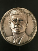 Rare Htf John F. Kennedy High Relief Silver Plated Inaugural Medal Signed Affer