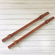 Pair Of Antique Wooden 19.5andrdquo Long Handle Drawer Pulls 2 From Vintage Wood Desk