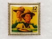 Girl Scout Pin U.s. Boy And Girl Scouting Begins 32 Cent Stamp Pinback - Made Usa