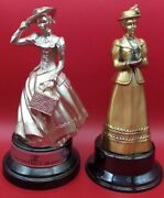 Lot Of 2 Mrs Albee Avon Pewter District Award Statues 1985-19861987free Ship