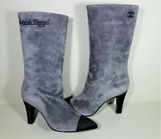 36 Grey Gray Suede Satin Black Cap Point Toe Boots New Gabrielle Coco