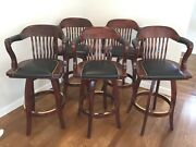 Set Of 4 Bar Stools Seats Swivel With Padded Leather Seats And Arms Sj Products