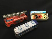 Tin Toy Lot Lot Of 3 Toys - Speed Boat, Fire Truck, Greyhound Bus