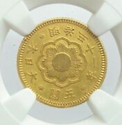 Japan Old Gold Coin New 5 Yen Gold Coin 1898 Meiji 31 Ngc Certificate Ms61