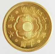 Japan Old Gold Coin New 10 Yen Coin 1908 Meiji 41 Unused Official Certificate