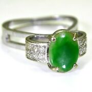 Unusual Vintage Jade And 0.30ct Diamond 14k 14ct White Gold Ring Size K 1/2 5 1/2