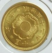 Japan Old Gold Coin New 10 Yen Gold Meiji 42 1909 Official Certificate Real