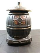 Mccoy Pot Bellied Stove Cookie Jar With Lid 10 3/4 Tall