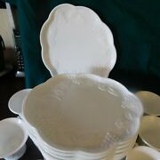 Set Of 12 White Milk Glass Snack/ Luncheon Plates And Cups Grape Pattern