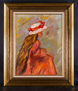 Vintage American Post-impressionist Original Oil Painting Girl In Red Dress