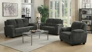 Casual 3-piece Chevron Velvet Fabric Sofa Set With Couch Loveseat Chair Charcoal
