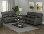 Transitional Plush 2-piece Faux Leather Sofa Set With Couch And Loveseat Charcoal