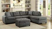 Modern 5-seater Fabric Sectional Sofa Set Reversible Chaise Storage Ottoman Gray