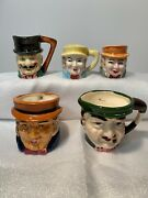 Vintage Mini Toby Mugs Made In Japan Lot Of 5 Bowtie Guys