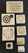 Stampin Up Itand039s About Time 2005 Set Of 8 Clock Parts Gears Hands Wood Mounted