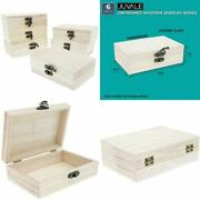 Unfinished Wooden Jewelry Box - 6-pack Wood Jewelry Boxes With Locking Clasp For