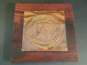 Vintage United States Marine Corps Copper Etching On 11and039 X 11 Wood Plaque