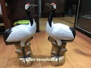 50 Cm China White Porcelain Pottery Fengshui Animal Red-crowned Crane Sculpture