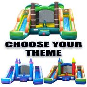 Pogo Backyard Inflatable Bounce House Double Lane Water Slide Pool With Blower
