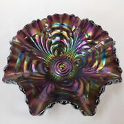 Bowl Iridescent Carnival Glass Imperial Arches File Ruffled Rim Candy Dish Rare