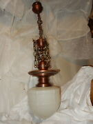 Ca. 1920and039s Cast Bronze And Brass Fixture Pendant W/ Embossed Milk Glass Shade