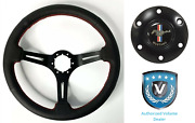 14 Black Perforated 6 Hole Steering Wheel W/ Ford Mustang Tri-bar Horn Button