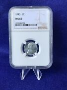 1943 Steel Lincoln Cent 1c Wheat Penny Ngc Ms66 Gem Brilliant Uncirculated