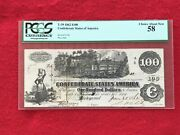 T-39 1862 100 Dollar Csa Confederate Train Note Pcgs 58 Choice About New