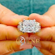14k White Gold Cushion Moissanite And Natural Diamonds Engagement Ring 6.50ctw