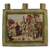 Italian Town Scene Antique Large Art Wall Hanging Vintage Tapestry 44x37