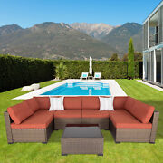 Outdoor Patio Furniture Wicker Sofa Set Cushioned Couch Maple Leaf W/ 2 Pillows