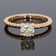 Gabriel And Co Rose Gold Gia Certified Round Diamond Twist Engagement Ring 3000