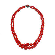 2825 Italian Coral And Silver Necklace, Beginning Of 20th C.