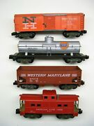 Lot Of 4 American Flyer Knuckle Coupler Freight Cars [lot 3-f58]