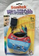 Sonitek Vga To Rgb Cable 6ft Vga To 3 Rca Male Cable Sn-vc-vg3r06