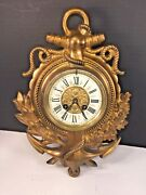 Ant Japy Freres Gilt Bronze Nautical Themed Wall Clock Movement Porcelain Face