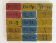 15 Antique Childand039s Colorful Wooden Alphabet/number Blocks With Animals