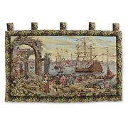 Large Art Wall Hanging Vintage Tapestry 51x36 - Antique Victory By The Harbor