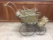 Antique Victorian Wicker Baby Stroller Buggy Carriage By E`. A. Whitney Co.