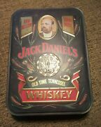 Vintage Jack Daniels Old No 7 Embossed Hinged Tin Box Right Facing Jack Empty