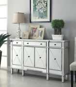 Modern Glam Mirrored Accent Wine Cabinet Sideboard Buffet With Wood Frame