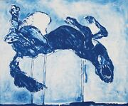 Fritz Scholder Roll Over Old Blue Rare Ctp Original Stone Lithograph 1978