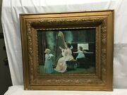 Vintage 1800s Wood Pressed Carved Gold Guild Frame The Piano Rehearsal Print