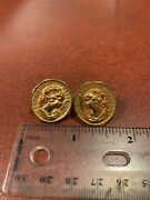 Confoederatio Helvetica Coin Style Swiss Woman Cameo Bust Earring Pair Free Ship