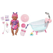 Baby Born Bathtub W/auto Shower And 43cm Soft Touch Kids Baby Girl Pink Doll 3y+