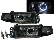 Mirage 98-01 Guide Led Angel-eye Projector Headlight Black For Mitsubishi Lhd
